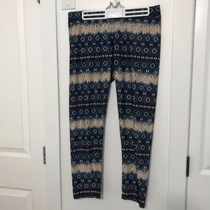 Blue Patterned Spandex Pants